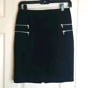H & M Black Pencil Skirt with Zippers